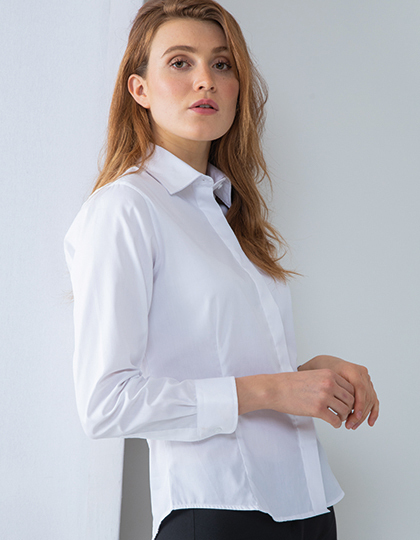 Ladies` Long Sleeved Pinpoint Oxford Shirt